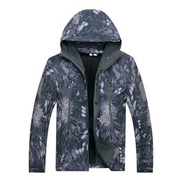 Wholesale Tad Gear Jackets - Tactical gear clothing outerwear Coats mens winter jackets with fleece lined thcik waterproof Camouflage TAD soft shell shark skin