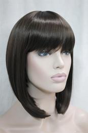 Wholesale Wig Chocolate - 2017 new fashion health Super Cute fashion cute BOB Dark Chocolate short straight women's full wig