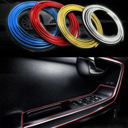 Wholesale Carbon Fiber Vinyl 5m - 5M Car Styling Brand Stickers and Decals Interior Decorative 3D Thread Stickers Decoration Strip on Car-Styling Auto Accessories