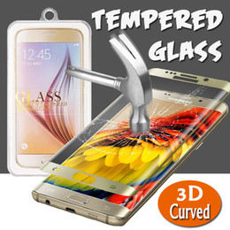 Wholesale Boxed Screen Guards - 3D Curved Full Coverage Screen Protector Tempered Glass Protective Film Guard For iPhone 8 Plus 7 Samsung S8 Plus S7 S6 Edge With Retail Box