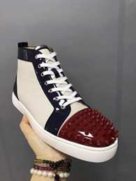 Wholesale Spike Heel Sneakers - 2017 New Brand CL Men Fashion Sneakers Lace up Casual Shoes Genuine leather Spikes Flat Heel Man Leisure Shoes Red Bottom Casual Shoe