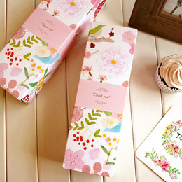 Wholesale Wholesale Package Supplies - Rectangle pink flower decoration cookie biscuit dessert candy packaging box party gift packing favors supply