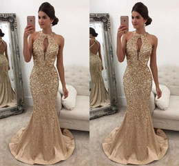 Wholesale Coral Open Back Prom Dress - Evening Dresses 2017 New Sexy Arabic Jewel Neck Keyhole Crystal Beading Mermaid Champagne Satin Open Back Formal Party Dress Prom Gowns