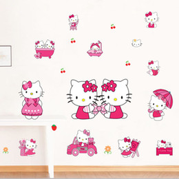 Wholesale Hello Bathroom - 50*70cm DIY Art Decal Removeable Wallpaper Mural Sticker for Kids Room Bedroom Living Room Pink Cartoon Hello Kitty Wall Stickers