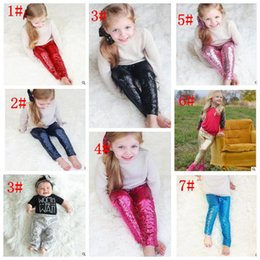 Wholesale Girls Gold Tights - KIDS sequin pants Baby Girls Sequin Leggings Toddler Gold Sparkle Leggings Sequin Pants Long Tights Bling Pants 8 color KKA2142