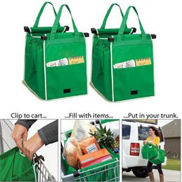 Wholesale Grocery Carts - Grab Bag Set of 2 Bags Reusable Clip to Cart Grocery Shopping Bag Non-woven Cloth Folding Handbag Brand New Free ship