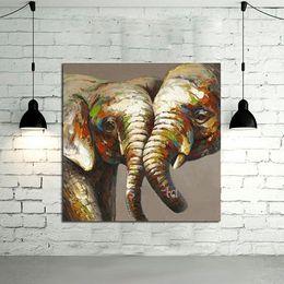 Emoldurado Amante Elefante Fotos, Pure Pintado À Mão Moderna Decoração Da Parede Abstrato Animal Art Pintura A Óleo Qualidade Canvas. Multi tamanho disponível A068 de Fornecedores de modernos, óleo, pintura, elefantes
