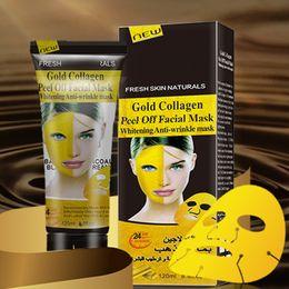 2019 золотые изделия для лица 120 мл маски для лица Золотой коллаген маски для лица отбеливание маска для лица Кристалл золотой порошок коллаген маска для лица Уход за кожей дешево золотые изделия для лица
