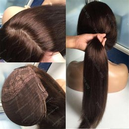 Wholesale Top Long Hair Wigs - 8A Grade Human Hair Stock Brown Color 4 Best Sheitels Silk Top Jewish Wig Russian Virgin Hair Straight Kosher Wig Capless Wigs Free Shipping