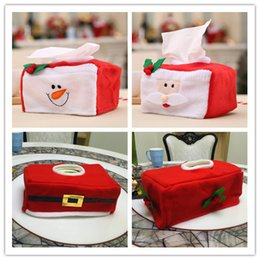 Wholesale Display Felt - DHL & SF_express Christmas Style Santa Claus snow man Belt Felt Tissue Box Case Holder Cute Home Decoration