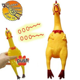 Wholesale Woman Screaming - 17cm 31cm 41cm Shrilling Chickens Screaming Rubber Chicken Squeeze Stress Toy Funny Squeeze Sound Toy for Kids Women Men