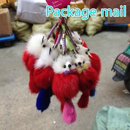 Lindo llaveros móviles online-2016 Nuevos Llaveros Reales de Felpa Paquetes de Ventas Mailed 2017 Ms Fox Fur Cute Mink Bolsos Accesorios Llavero Del Coche Es Mao Colgante Del Teléfono Móvil