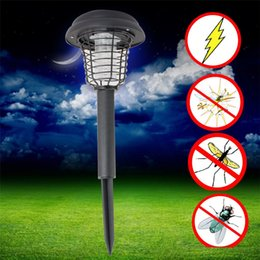 Wholesale Solar Led Lamp Mosquito Killer - UV LED Solar Powered Outdoor Yard Garden Lawn Light Anti Mosquito Insect Pest Bug Zapper Killer Trapping Lantern Lamp