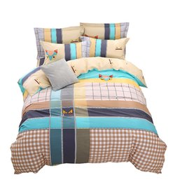 Wholesale Checked Bedding Sets - Bedding Striped Bed Sheets lattice Home Textiles Printed Personality Fashion Cotton 2.5m Striped Bedspread Set 4 pieces Comfortable Spring S