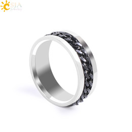 Wholesale Rock Bands Jewelry - CSJA Mens Black Chain Spinner Band Rings Punk Rock Style Fashion Finger Jewelry Polished Stainless Steel Rings Cheap Wholesale E675