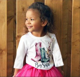 Wholesale Little Sister Shirt - Autumn Girls Romper Boots Printed Long Sleeve Tee Shirt Baby Little Sister Bodysuit Spring Flower Toddler Jumpsuit Children Tops C2357