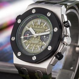 Wholesale Men Watch Royal - Luxury Brand silver Blue Sports Mens Watch Chronograph Stopwatch Royal Oak Offshore Limited Edition Lebron James Men Watches Wristwatch