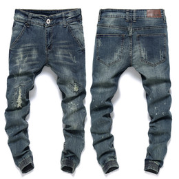 Wholesale Beams Plus - Wholesale-Ankle Jeans Men Famous Brand Mens Ripped Jeans Slim Fit Vintage Retro Distressed Harem Jeans Homme Tapered Denim Pants Beam P5