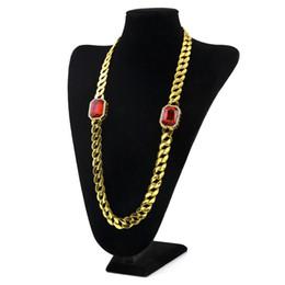 Wholesale Necklace Ideas - Fashion Alloy Necklace Hip Hop 2 Ruby Men's Cuban Long Necklace Hot Jewelry Christmas Gift ideas Wholesale