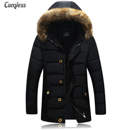Wholesale Winter Jacket Fur Hood Mens - Wholesale- 2016 New Fashion Brand Clothing Parka Men Thick Men's Winter Parka With Fur Hood Solid Trend Long Mens Jackets And Coats Winter