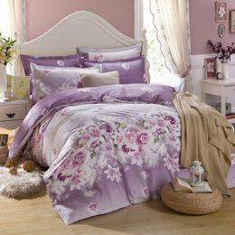 Wholesale King Size Comforter Set Purple - Wholesale-purple flowers printing bedding set twin full queen king size,fitted flat bedsheet comforter case pillowcases 4pcs 3pcs 5pcs set