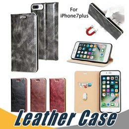 Wholesale Iphone Cover Leather Retro - For iPhone 7 6 Plus 5 Vintage Retro Flip Stand Magnetic Magnet Leather Case with Card Slot Case Cover For Samsung S8 Plus S7 Edge