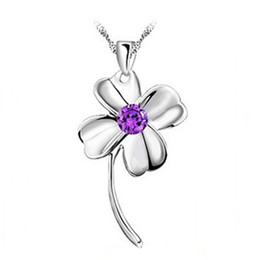 Wholesale Pendant Flower Amethyst - Brand New 18K White Gold Pendant Necklace GP Purple White Swarovski Amethyst Crystal Love Charms Four Leaf Clover 925 Silver Necklace