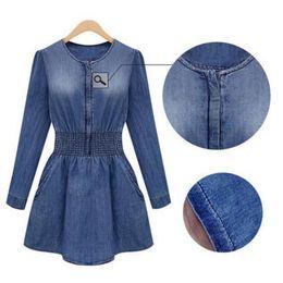 Wholesale Tunic Sale Women - Hot Sales Vintage Women Ladies Casual Slim Denim Washed Jeans Dress Tunic Mini Dress