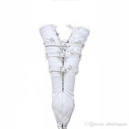 Wholesale Adult Sex Toys Leather Female - Adult products Female Leather Lacing and Buckling Leather Full Arm Bondage Gloves Restraint Sex Toy Submission Training