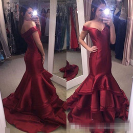 Wholesale Junior High Pageant Dresses - 2017 Dark Red Mermaid Off the Shoulder Prom Evening Dresses Junior Cheap Sexy For Party Pageant Gowns Floor Length Formal Evening Gowns
