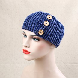 Wholesale Crochet For Hair Accessories - 2017 New Crochet Knitted Headband With Three Button Chunky Knit Ears Warm Headwear Multicolor Hair Band Accessories For Women
