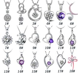 Wholesale Silver Heart Pendant Fashion - 925 Sterling Silver Pendant Necklace Fashion Charms necklaces Heart shaped Crystal pendants High quality jewelry Free Shipping