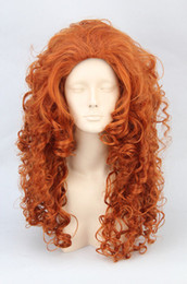Wholesale brave cosplay - Brave Merida New Long Orange Wavy Cosplay Party Synthetic Wig Wigs