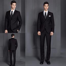 Wholesale Slim Fit Suits Dresses 46 - 2018 Newest Men's Wedding Suit Slim Fit Black Men Suits Blazers Two Buttons 2 Pieces Wedding Tuxedos Bridegroom Dresses(Suit jacket+pants)