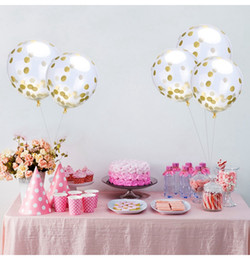 Wholesale Wedding Paper Confetti - Latex Free Balloon Gold Confetti Balloons 12 Inches Party Decoration Balloons With Golden Paper Dots Party Decorations Wedding