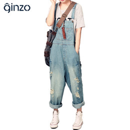 Wholesale Jeans Loose Legs For Women - Wholesale- Women's casual loose denim overalls Lady's hole ripped baggy jeans Wide leg pants for woman
