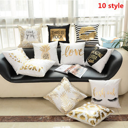 Wholesale luxury fabric sofas - New Several StylesBronzing Cushion Cover Printed Pineapple Luxury seat cushion Home Decorative Striped pillowcaseCover for Sofa Pillowcase