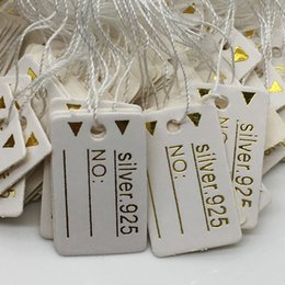 Wholesale Tags Strings - 1000pcs Free Shipping Wholesale 24*15mm White 925 gold Label Tie String Price Display Tags,Jewelry Display