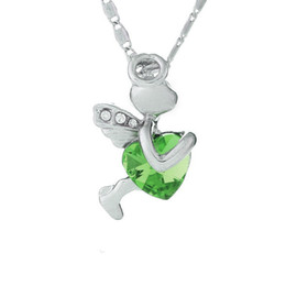 Wholesale United Angels - Women 's necklace Europe and the United States popular jewelry Austrian crystal pendant necklace - small angel 055 multi - color choice