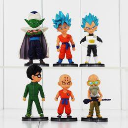 Wholesale Master Roshi Figure - 6pcs lot Dragon Ball Z Q Version Son Goku Son Gohan Vegeta Piccolo Kuririn Master Roshi PVC Figures 6-9cm Model Toys