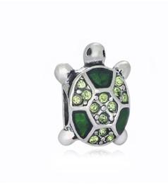 Wholesale Pandora Turtle Charm - Fits Pandora Bracelets 10pcs Little Turtle Silver Crystal Charm Bead Loose Beads For Wholesale Diy European Sterling Necklace Jewelry