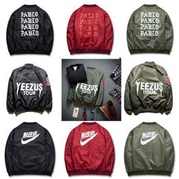 Wholesale Air Force Bombers - 2016 Spring Hip-Hop Street Kanye West Yeezus Ma1 Pablo Bomber Jacket Homme Season 3 Air Force One Fbi Jacket Men