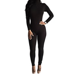 Wholesale Womens Black One Piece Bodysuit - Wholesale- 2016 New Arrival Sexy Black Bodysuit Bodycon Rompers Womens Jumpsuit Slim Long Sleeve One Piece Playsuit Overalls Macacao