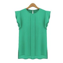 Wholesale Ladies Summer Clothes Sale - Womens Blouses Chiffon Clothing Summer Lady Blouse Shirt Sale New Fashion Ruffle Sleeveless 4 Colors Tops OL Blouse 0002-B0001