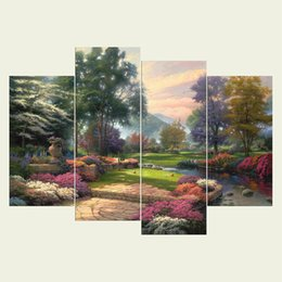 Wholesale Parks Painting - (No frame) Small park series HD Canvas print 4 pcs Wall Art Oil Painting Textured Abstract Pictures Decor Living Room Decoration