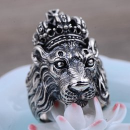 Wholesale Tibet Silver Lion - Jarry 234 S925 personality crown The lion king Europe and the United States wind domineering rugged Male ring The new Thai silver wholesale