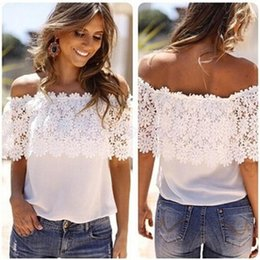 Wholesale T Shirts Crochet Flowers - Wholesale-Women T-Shirt Sexy Off Shoulder Casual Tops Lace Crochet Flower Patchwork Ropa Mujer #2415