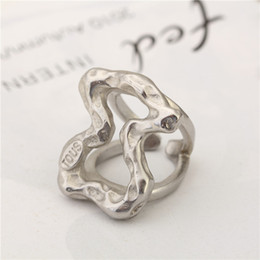Wholesale Stainless Ring Size Women - Fashion Anillo Stainless Steel Women Spainish Brand Rings Size 6.7.8.9 Cute hollow Rings good quality no fade jewelry bears