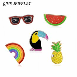 Wholesale Wholesale Bags Jewelry Sets - Wholesale- QIHE JEWELRY Cute Fruit Watermelon Pineapple Crow Sunglasses Rainbow Jeans Bag Enamel Lapel Pin Brooch Set Fashion Jewelry