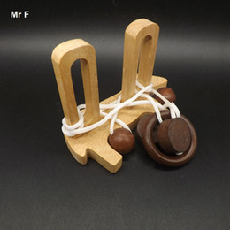 Wholesale Iq Puzzle Solutions - Fun Little Dog Rope Puzzles Solution IQ Mind Brain Game 3D Wooden String Rope Puzzle Toy For Children Christmas Gift